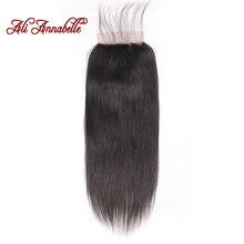 Brezilyalı düz insan saçı dantel kapatma 6x6 İsviçre dantel kapatma doğal renk % 100% İnsan saç orta/ücretsiz bölüm Remy kapatma