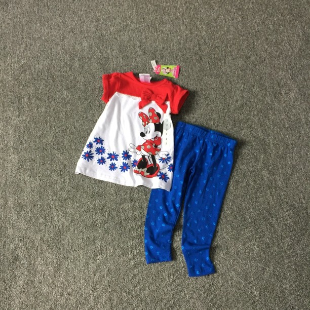 Minnie Mouse Legging Set for little girls Minnie Shirt and pant 2 pieces set for summer 100% cotton short-sleeve set Blue red