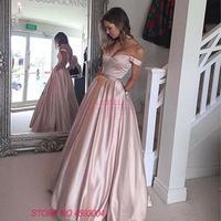 robe de soriee Off Shoulder Red/Pink Party Dress 2018 Sexy Long Maxi Dress Women Elegant Long Satin Prom Evening Gown Vestido