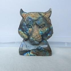 Nieuwe Collectie Shining Labradoriet Hand Gesneden Vivid Tiger Head Edelsteen Decoratie 78x59x19mm 137.9g