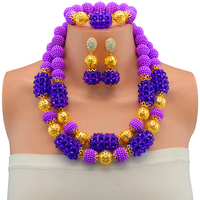 Nigerian Wedding Purple African Beads Jewelry Sets Crystal Fashion Costume Design Dubai Gold color Jewelry Sets For Women