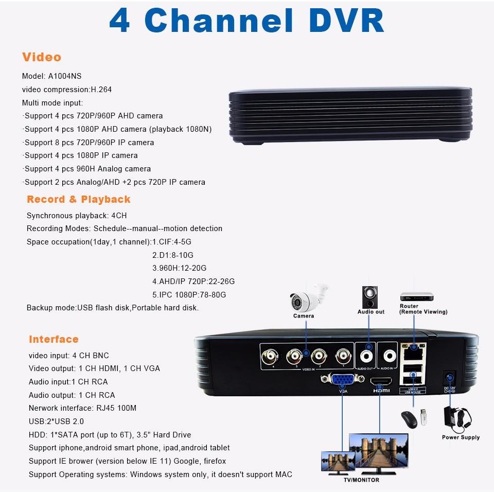 8-4CH Hybrid DVR A1004NS