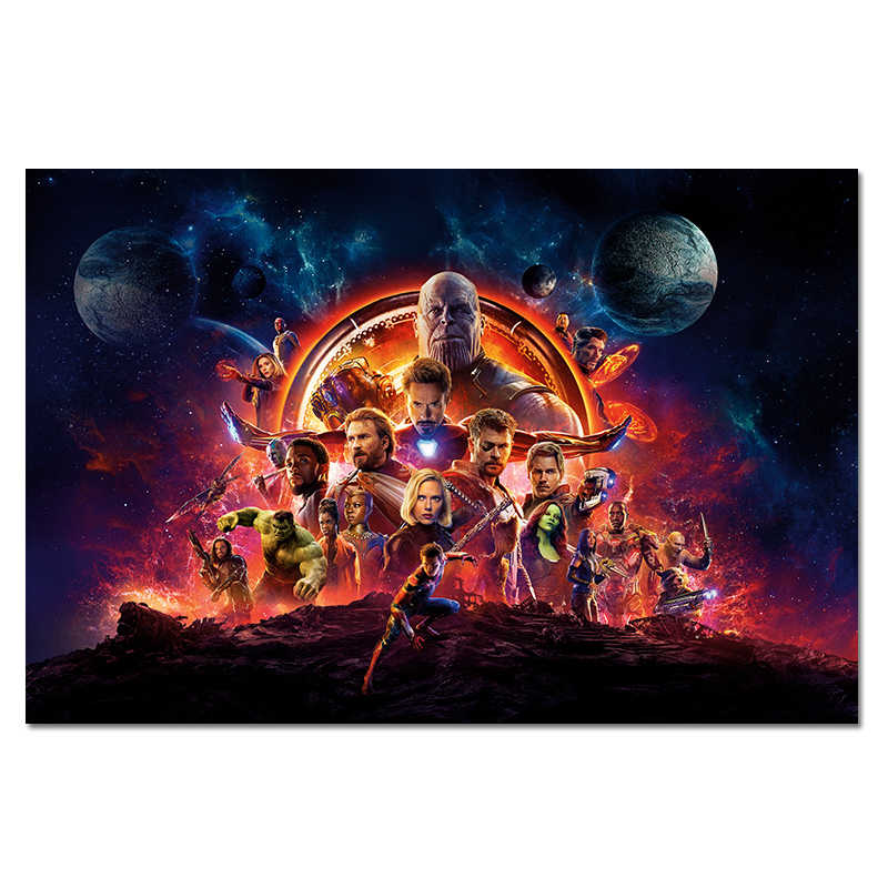 Movie Poster Avengers Silk Poster Marvel Heroes Wall Art Picture Spiderman Captain America Print Home Decor Superhero Posters