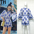 2017 runway fashion women short lace bordado dress beach dress bohemia borla femenina retro casual vestidos vestidos z012