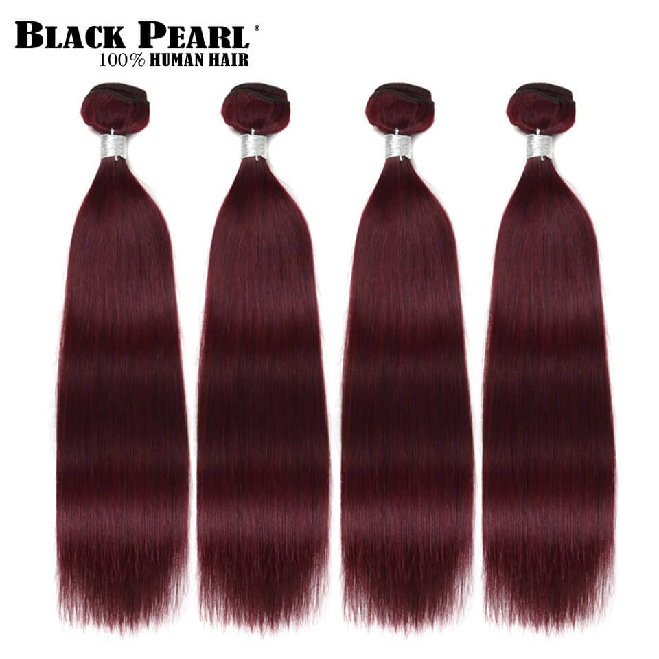 Black Pearl Pre-Colored Hair Weave Wine Red Human Hair Bundles 4PC Remy Brazilian Straight Hair Extensions Hair Weft 99j