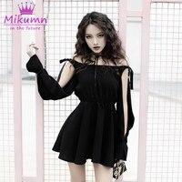 New Style Gothic Punk Women Dress Long Sleeve Hollow Out Sexy Slim Black Dress Female Mini Dress Plus Size Vestidos Femininos