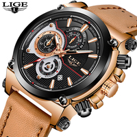New LIGE Mens Watches Top Brand Luxury Quartz Gold Watch Men Casual Leather Military Waterproof Sport