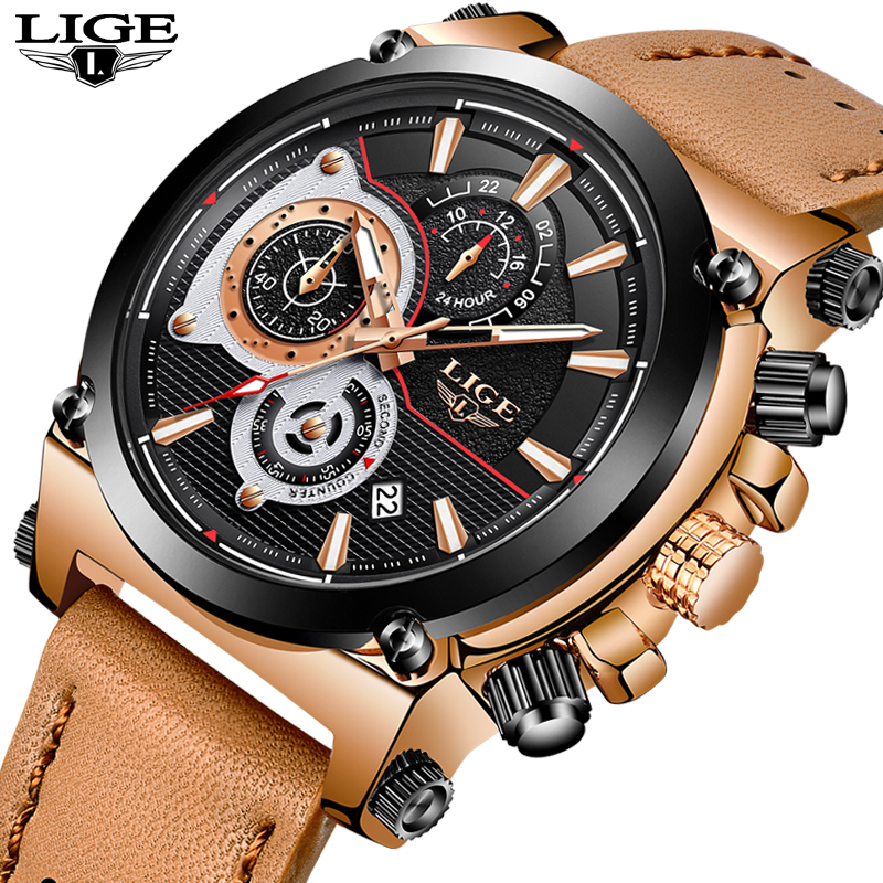 LIGE New Mens Watches Top Brand Luxury Quartz Gold Watch Men Casual Leather Military Waterproof Sport Watch Relogio Masculino