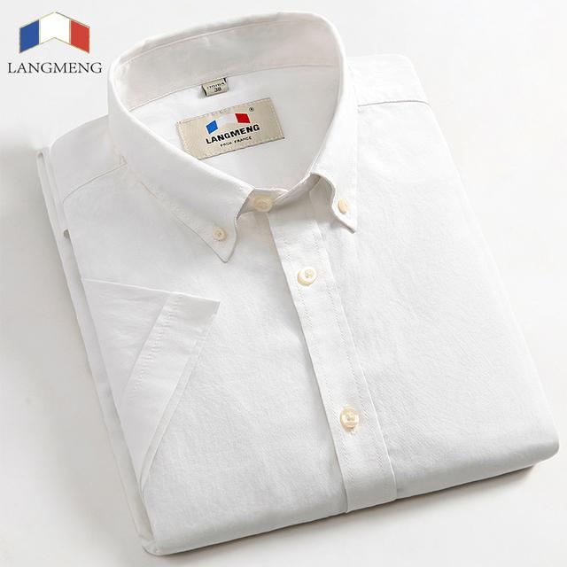 LANGMENG 100% algodón de verano Nueva marca de Moda para hombre vestido de camisa oxford camisa casual hombres de manga corta oficina camisas blancas