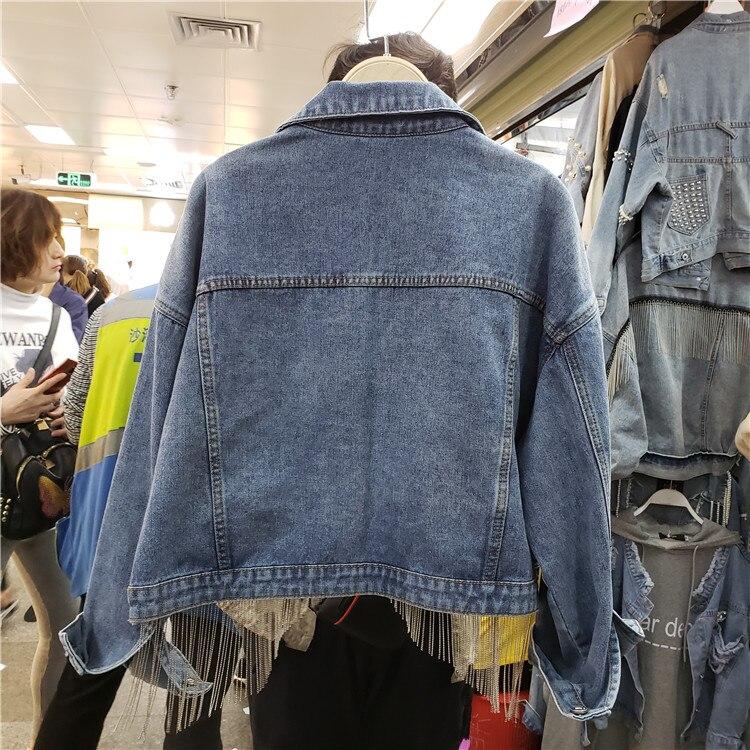 Nouveau printemps automne frangé chaîne Jeans veste court vestes femmes mode coréenne lâche manteau fille étudiants Streetwear pardessus - 4