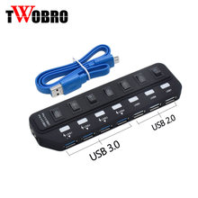 High Speed 7 Ports USB Hub 3.0 5 Gbps 2.0 Hub LED USB Splitter With Power Adapter On/Off Switch Computer Cable For PC Laptop wholesale 5 pieces lot high quality usb foot switch pedal switch hid pc computer usb action control keybo