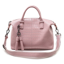 P230 Crocodile Print Head Layer cowhide laptop Bags Fringe Slope Single Shoulder Bag Leisure Leather Ladies Handbags