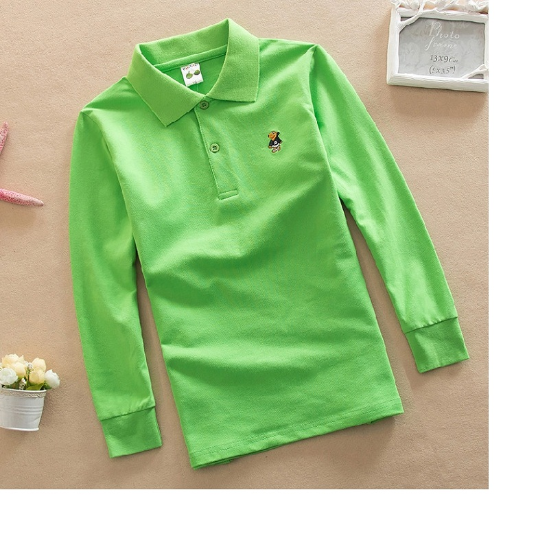 Polo-Shirt Long-Sleeve Boy Solid-Color Children's Brand Cotton Warm Lapel 3-12-Years-Old