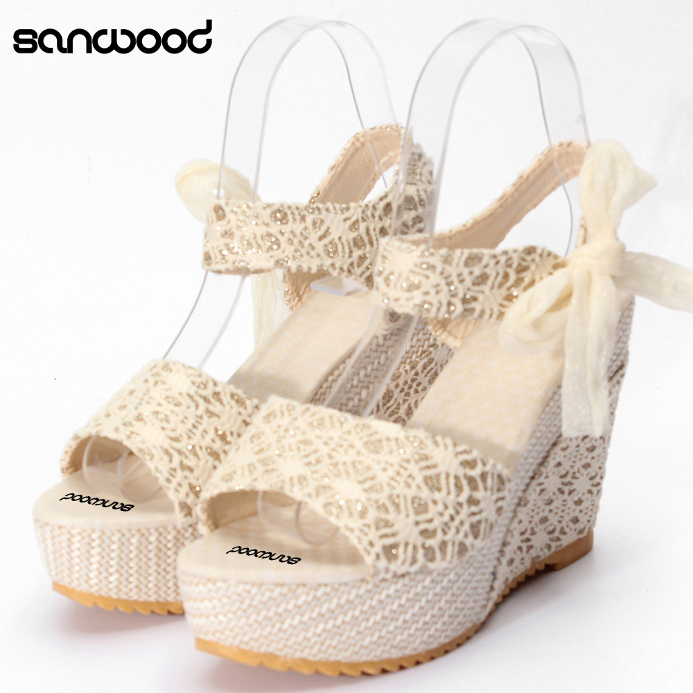 Hot Fashion New Women Summer High Heel Wedge Platform Sandals Bowknot Ankle Lace Strap Shoes
