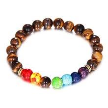 Tiger Eye Beads Bracelets For Women Man 7 Chakras Bracelet Scrub Black Stone Charm Bracelet Men Hombre Gift