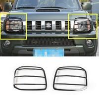 For Suzuki Jimny Black Red Metal Car Front Head Light Frame Trim Cover 2007 2015 2pcs