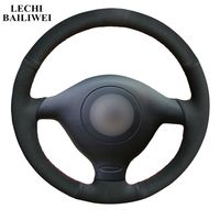 Black Suede Car Steering Wheel Cover for Volkswagen VW Golf 4 1998 2004 Passat B5 1996 2005 Polo 2002 Seat Leon
