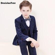 2021 new flower boys formal suits for weddings boys plaid blazer vest pants tuxedo kids gentleman party clothing sets