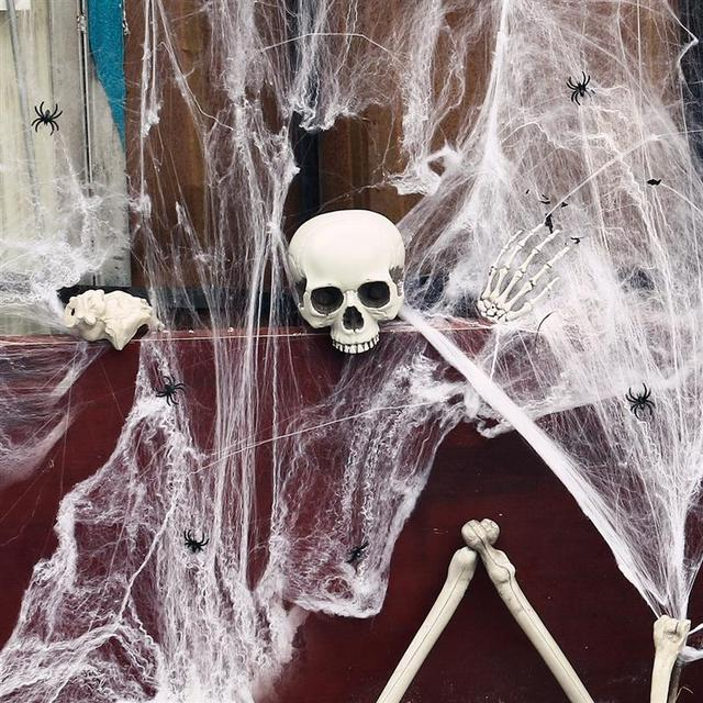 hot stretchy spider web cobweb with black spider halloween decoration 2017 haunted house props home party