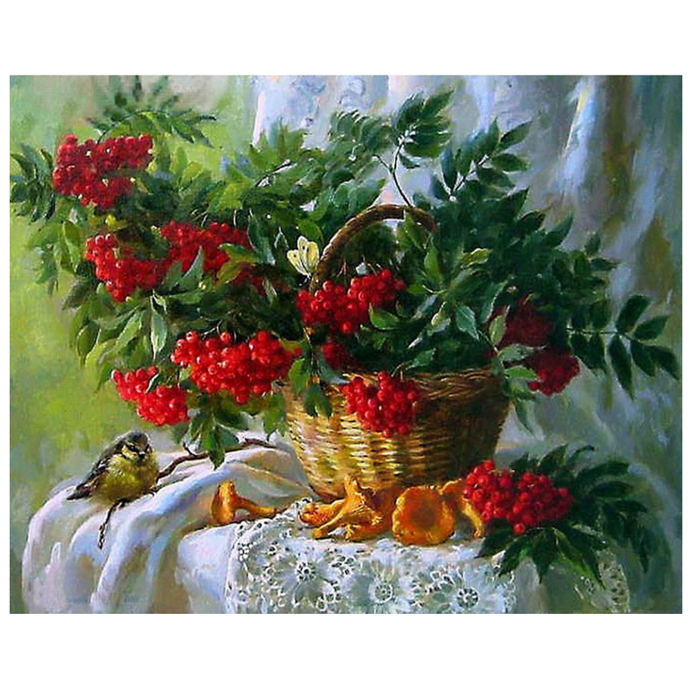 Hot DIY 5D Diamond Embroidery Painting Cross Stitch Kit Flower Animal Home Decor Red Flower Basket Berries