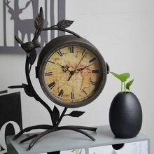 Vintage Tree Model Desktop Clock Creative Double Side Home Decoration Table Clock Retro Bird Living Room Electronic Desk Clock