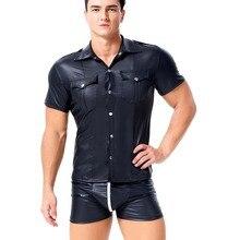 Degli Uomini Sexy Del Faux di Cuoio Nero Della Polizia Militare di Stile Camicia Manica Corta Button Up Poliziotto Tee Top Uniforme Costume Gay M a XXL