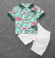 New Summer Kids Boys Printing shorts shirt +Pants Suit WithTwo Piece boy clothing Flower Set