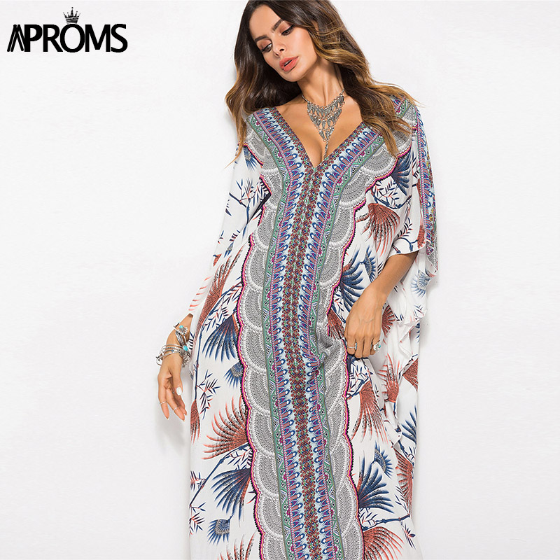 Aproms Bohemia Floral Print Maxi Dress Summer 2019 Women Batwing Half  Sleeve Robe Sexy Loose Beach f53b9cfeb1ee