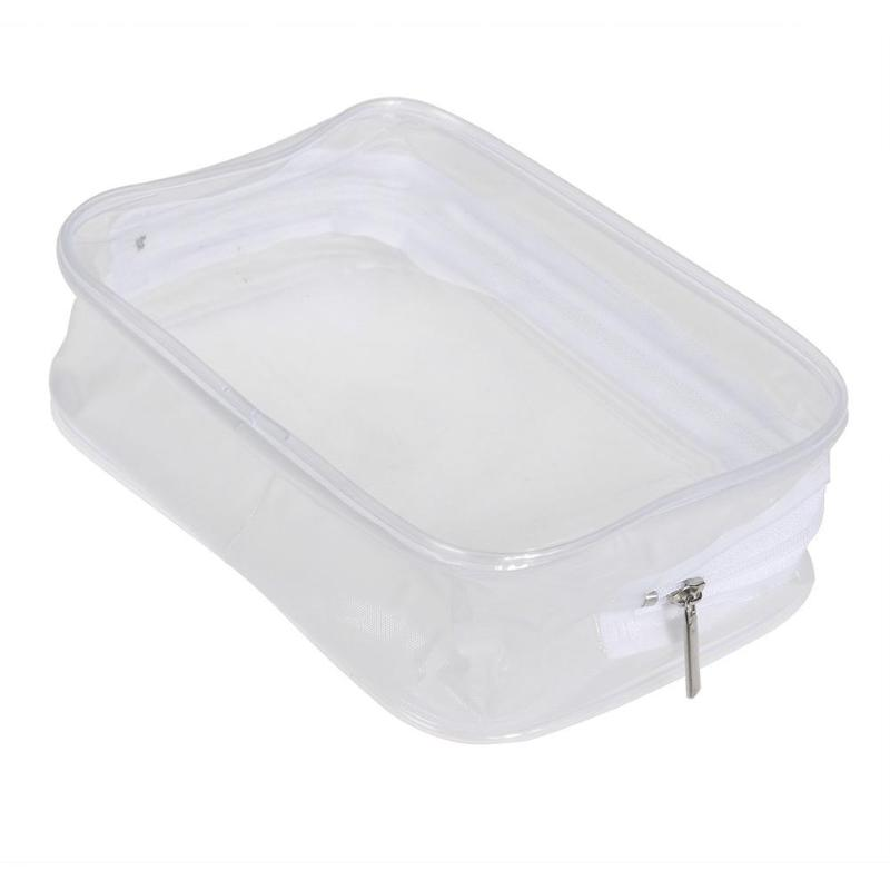 Women Portable PVC Transparent Plastic Waterproof Zipper Cosmetic Bag