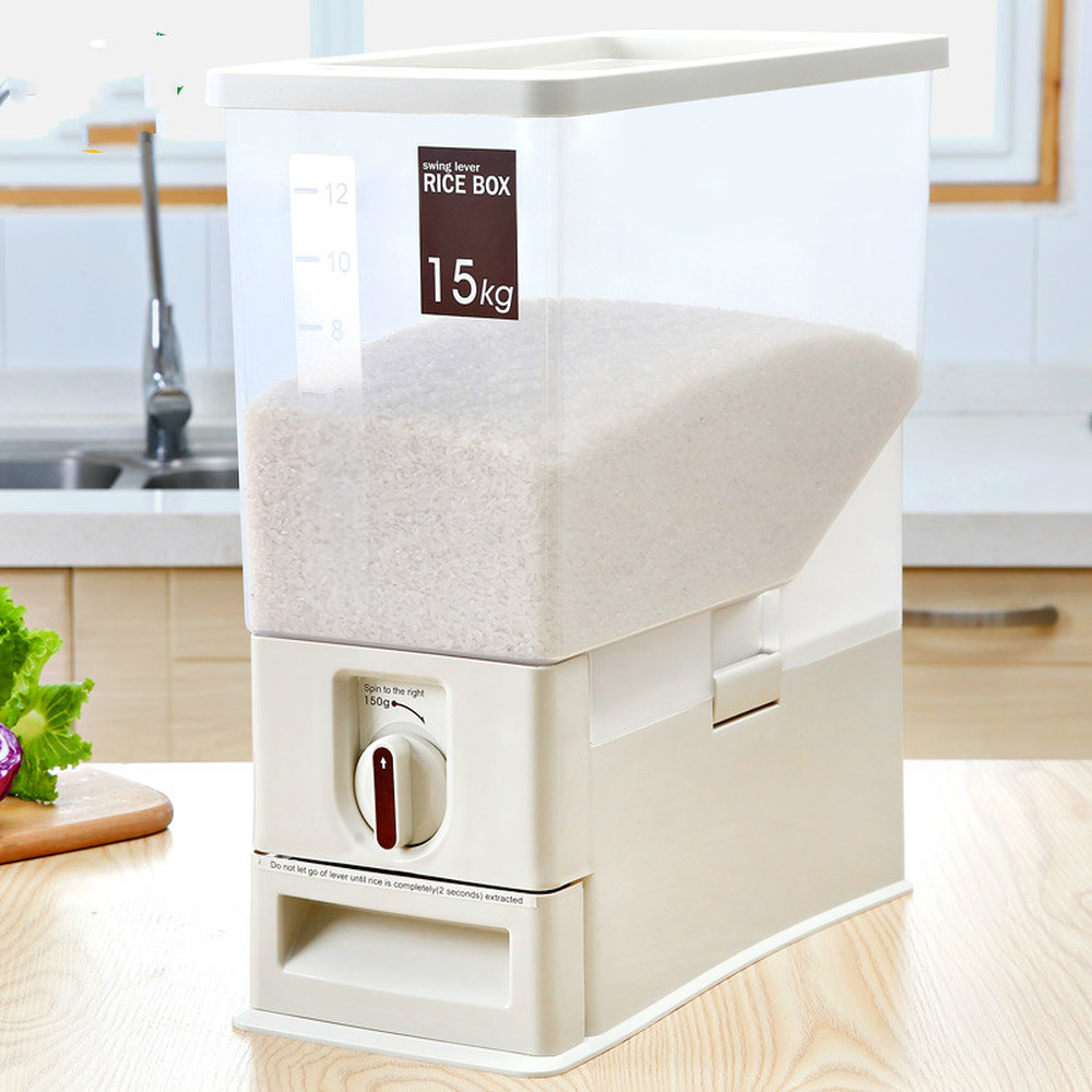Baril de riz ménage boîte de riz étanche à l'humidité en plastique 15kg dosage automatique 30 kg boîte de rangement de cylindre de riz LM7191614