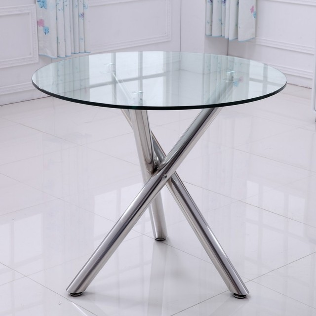 Transparent toughened glass table. Fashion negotiation table. Glass table.