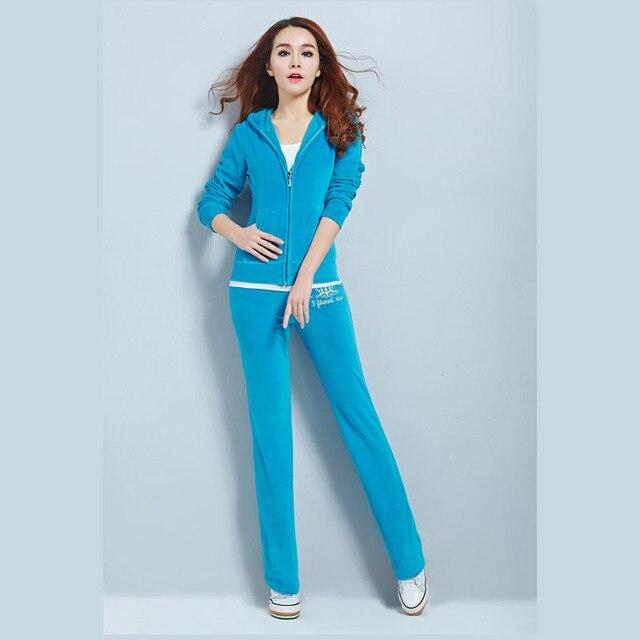 Hot Selling Velvet Sweat Suits Women Leisure Sportswear Hoodies Tops and Sweat Pants Set 4