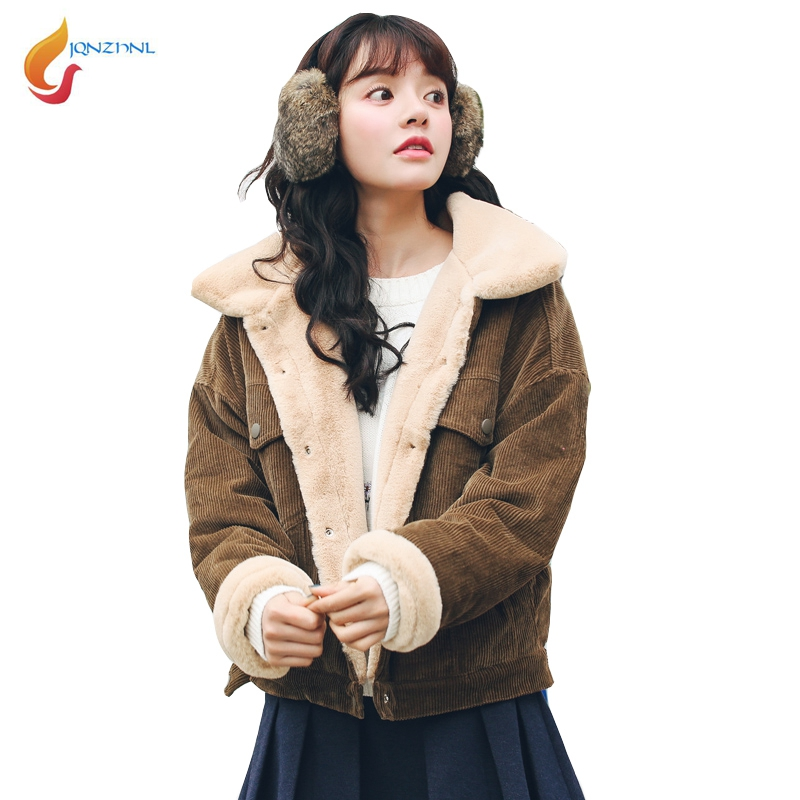 JQNZHNL 2017 Winter Women Turn Down Collar Cotton Coats Outerear Fashion Women Casual Thicken Rabbit Wool Cotton Jacket Coat C02 down the rabbit hole