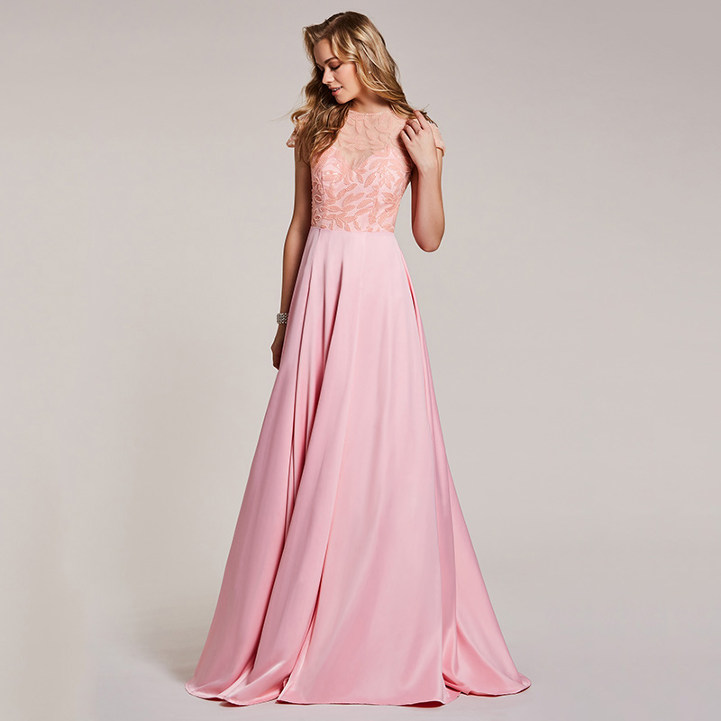 Image 3 - Dressv pink evening dress cheap scoop neck a line beading cap sleeves floor length wedding party formal dress evening dresses-in Evening Dresses from Weddings & Events