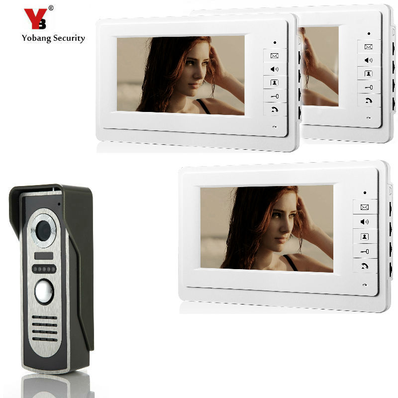 Yobang Security Wired Home 7 inch TFT Color Video Intercom Door Phone System Camera 700TVL with 3 Monitor for Multi Apartments yobang security free ship 7 video doorbell camera video intercom system rainproof video door camera home security tft monitor