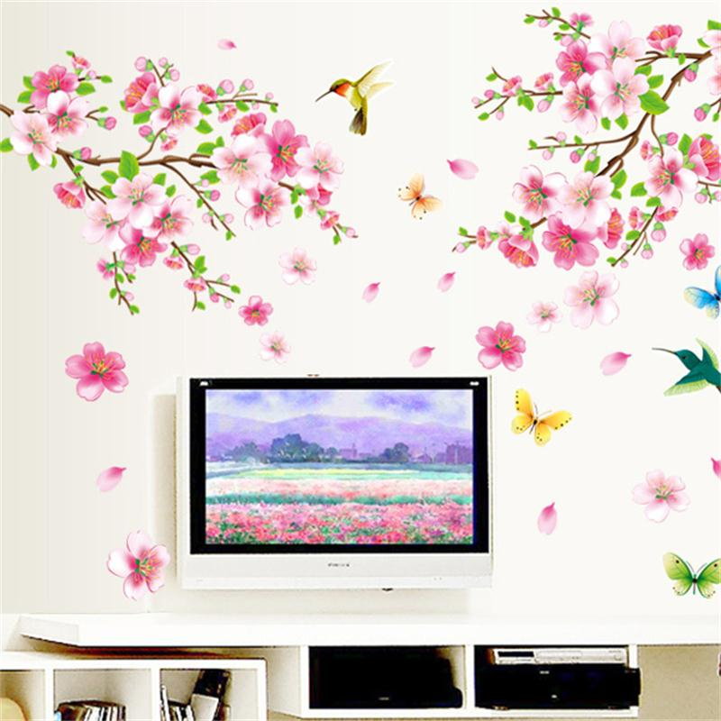 Flower Wall Stickers Graceful Peach Blossom birds Wall decals Furnishings Romantic Living Room sofa tv background Decoration ...