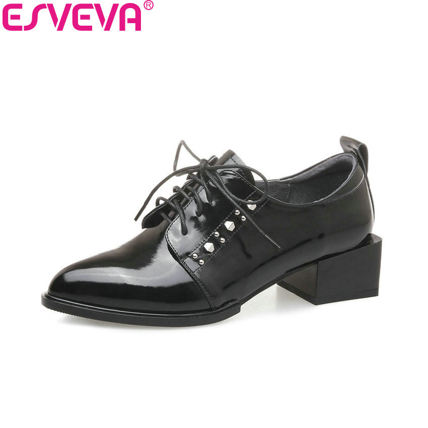 ESVEVA 2018 Pointed Toe Women Pumps Med Heels Cow Leather PU Square Heels Lace Up Out Door Western Style Ladies Shoes Size 34-42 esveva 2018 pointed toe western style women pumps cow leather pu square high heels lace up out door ladies shoes size 34 43