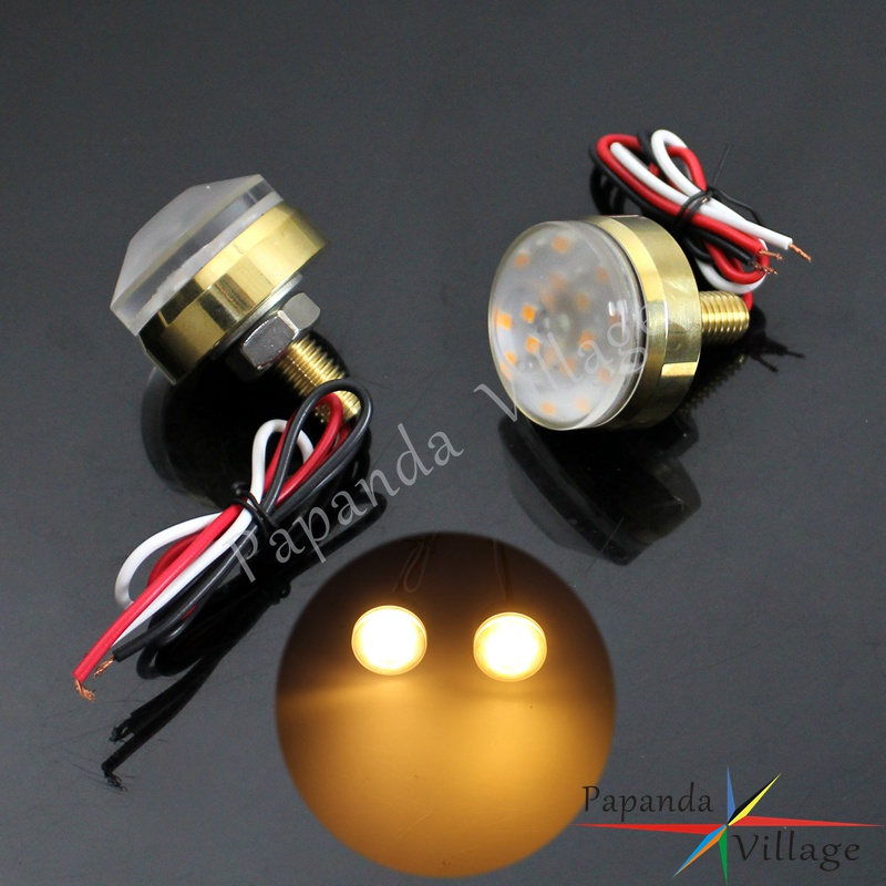 Motorcycle Brass Universal 1 25mm Handlebar LED Turn Signal Indicators Lamp Bar End Blinker for Honda Yamaha Suzuki Kawasaki
