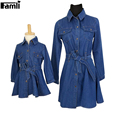1pc Famli Mother Daughter Jean Dresses Family Mommy Kids Autumn Spring Fashion Matching Denim Dress Clothing Set Outfits