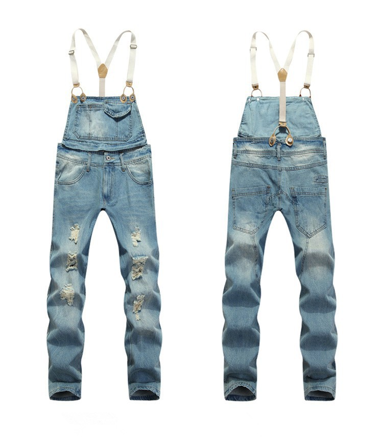 2c767c41630 Mens Denim Overalls Men Bib Overall Jeans Ripped Fashion Blue Denim  Jumpsuit Pants-in Jeans from Men s Clothing on Aliexpress.com
