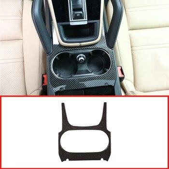 Carbon Fiber Silver ABS Chrome Center Console Cup Holder Panel Cover Trim For Porsche Cayenne 2018-2019 Car Accessories