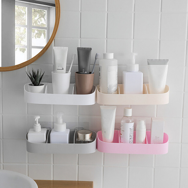 4 Colors Corner Bathroom Shelf Storage Organizer Shower Wall Shelf With Suction  Cup To House Corner Kitchen Shelves Bathroom
