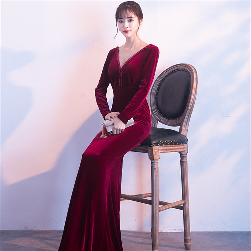 It's Yiiya evening dress Sequined V-neck Floor-length Trumpet Prom Gowns Beading Full sleeves zipper long Party dresses C176