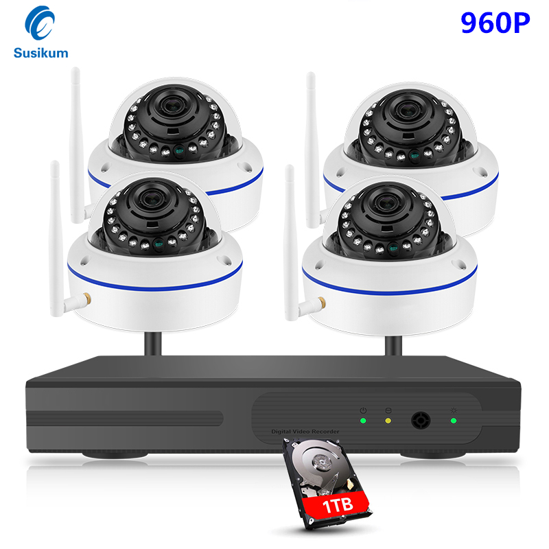 1.3MP Dome Wireless Security Camera System Video Surveillance Kit 4CH Wifi NVR Kit P2P HD 960P Wireless CCTV IP Camera Kit Set image