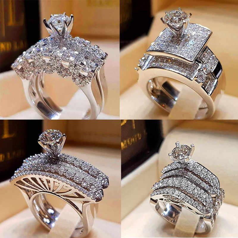 Boho Feminino Cristal de Zircão Anel de Casamento Set Moda 925 Prata Grande Anel de Dedo de Pedra Promessa de Noiva Anéis de Noivado Para As Mulheres