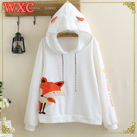 Cartoon Fox Women Pullover Kawaii Japanese Style Mori Girls White Thin Hooded Hoodies With Ears Preppy Style Cute Teens Tops WXC