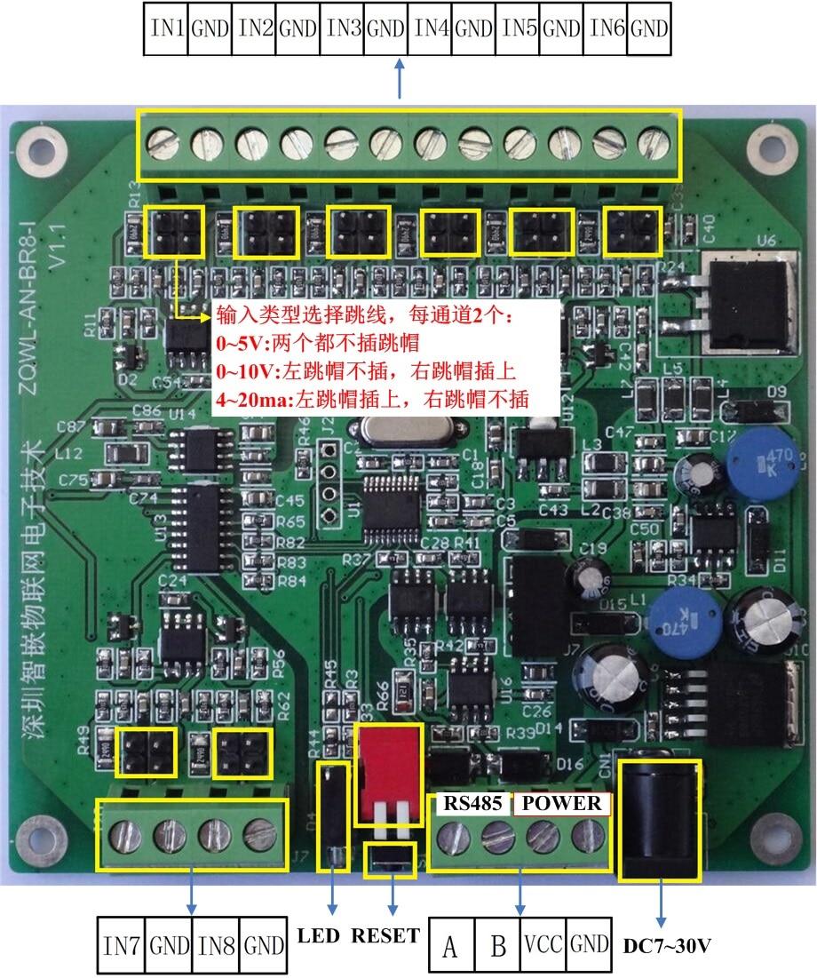 Module d'acquisition analogique 8 canaux/0 ~ 5 V/0 ~ 10 V/4 ~ 20ma/RS485/programmable