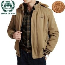 ZHAN DI JI PU бренд размера плюс 3XL 4XL 5XL 6XL 7XL 8XL зимняя куртка теплая флисовая подкладка ветровка верхняя одежда мужские парки 180