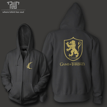 Free shipping Game of thrones lannister hear me roar men unisex zip up hoodie 10.3oz weight organic fleece cotton high quality
