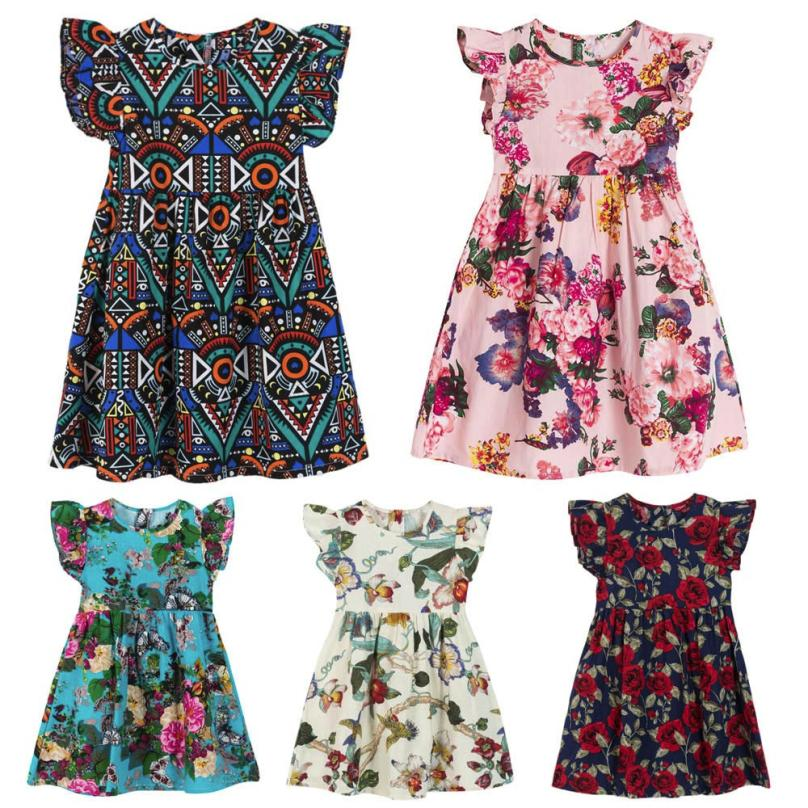 TELOTUNY 2018 Summer Flower Kids Girl Dresses Kids Infant Toddle Floral Sleeveless Clothes Princess Party Wedding Dress m19